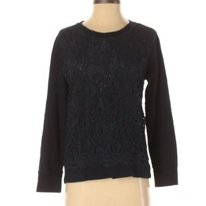 J. Crew Navy Blue Lace Front Sweatshirt